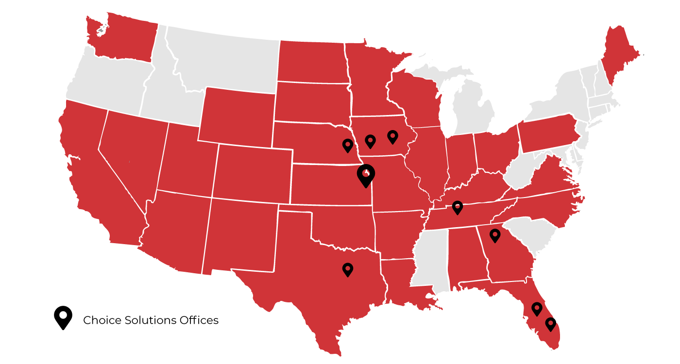 map of service location in the U.S.